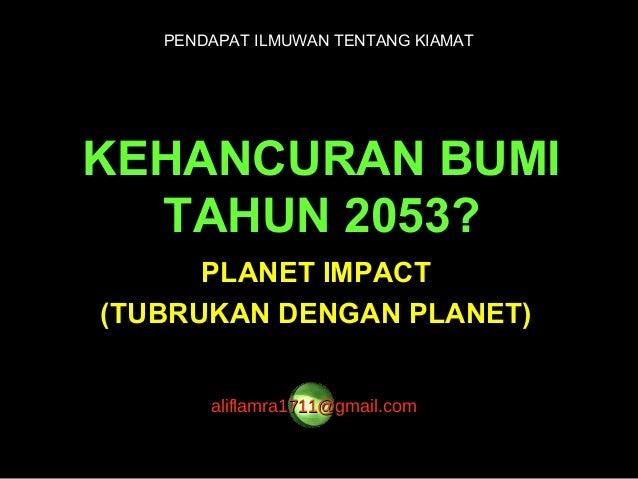 Alasan qiamat pada tahun 2053