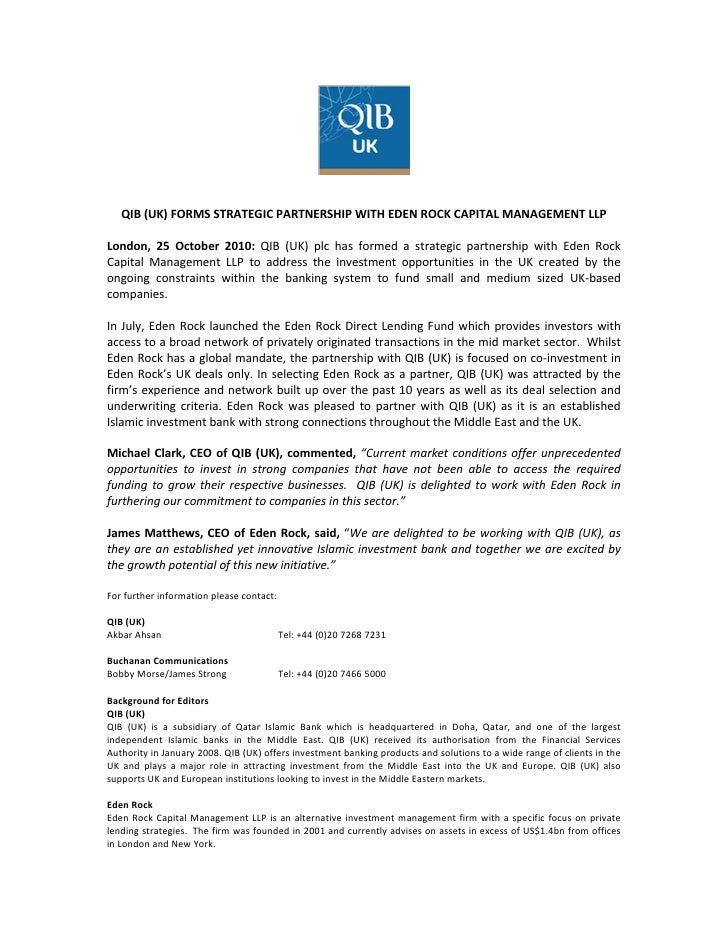QIB(UK)FORMSSTRATEGICPARTNERSHIPWITHEDENROCKCAPITALMANAGEMENTLLPLondon, 25 October 2010: QIB (UK)...