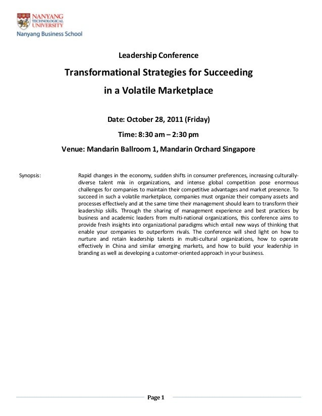 Page 1 Leadership Conference Transformational Strategies for Succeeding in a Volatile Marketplace Date: October 28, 2011 (...