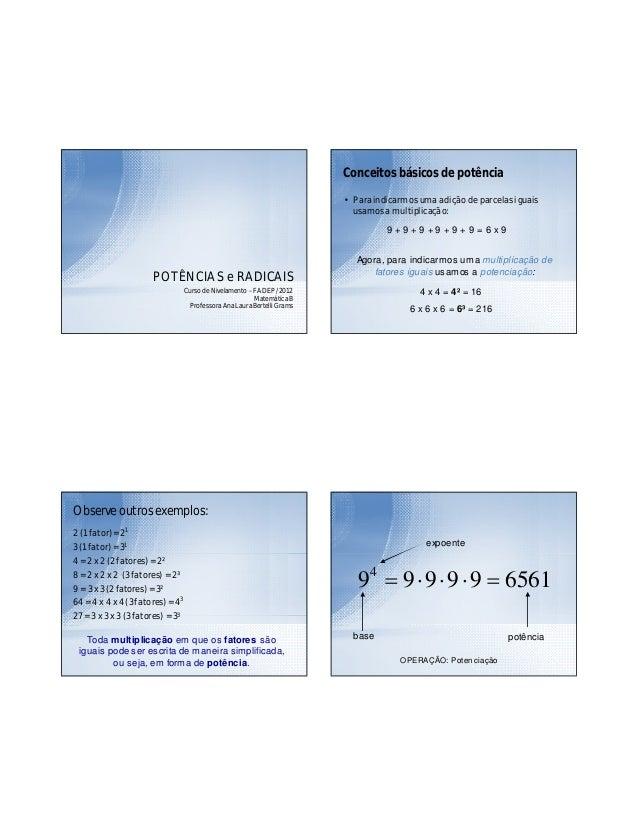 Curso de Nivelamento – FADEP / 2012 Matemática B Professora Ana Laura Bertelli Grams POTÊNCIAS e RADICAIS Conceitos básico...