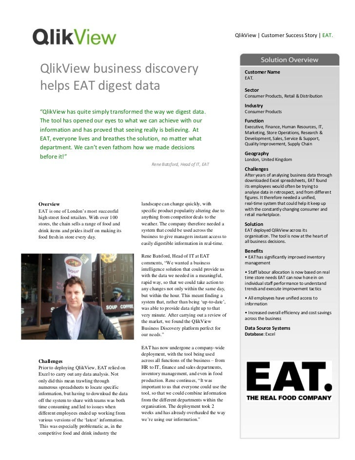 QlikView | Customer Success Story | EAT.QlikView business discovery                                                       ...