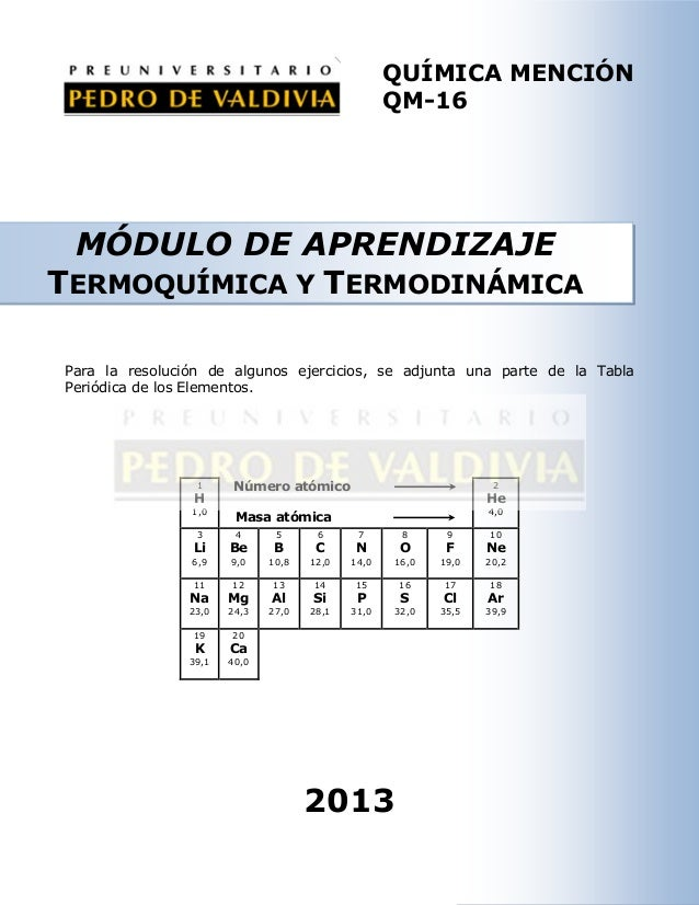 QUÍMICA MENCIÓN QM-16  MÓDULO DE APRENDIZAJE TERMOQUÍMICA Y TERMODINÁMICA Para la resolución de algunos ejercicios, se adj...