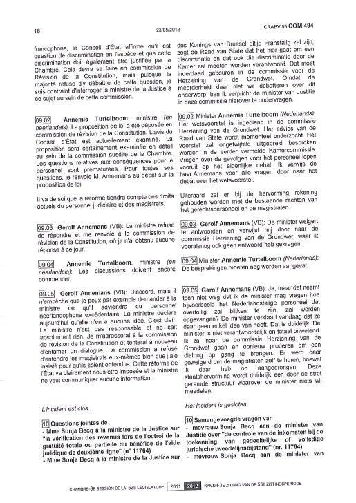 Q° ministre commission -  l'aide juridique et son fonctionnement 24 mai 2012