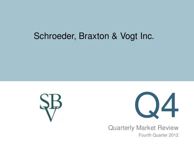 Schroeder, Braxton & Vogt Inc.                          Q4                  Quarterly Market Review                       ...