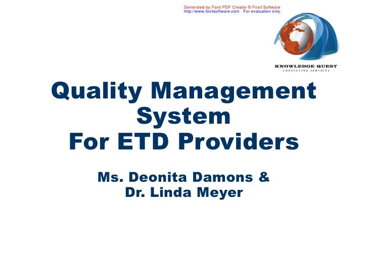 Quality Management System (QMS) for training providers