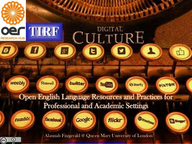 Open English Language Resources and Practices for Professional and Academic Settings
