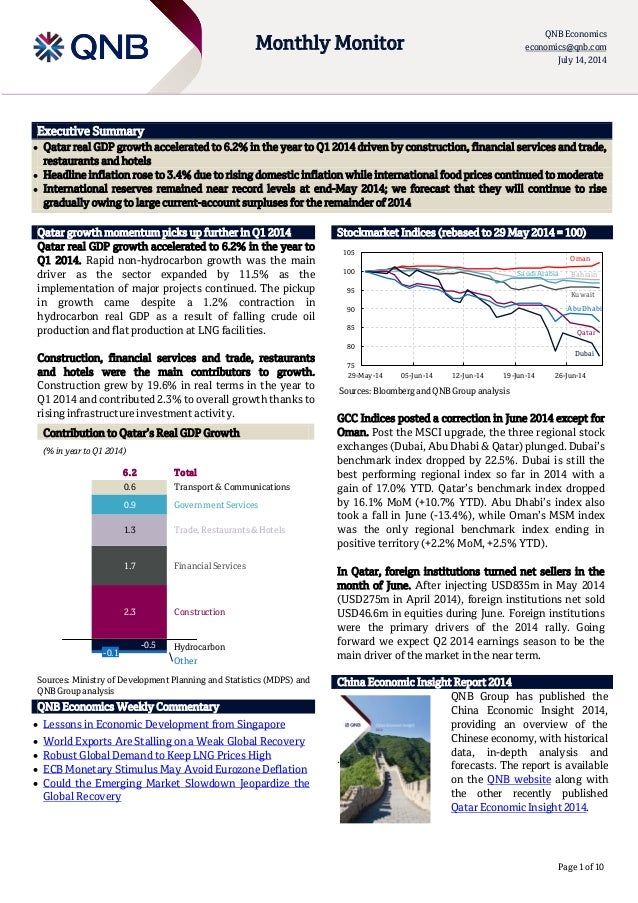 Page 1 of 10 Monthly Monitor QNB Economics economics@qnb.com July 14, 2014 Executive Summary  Qatar real GDP growth accel...