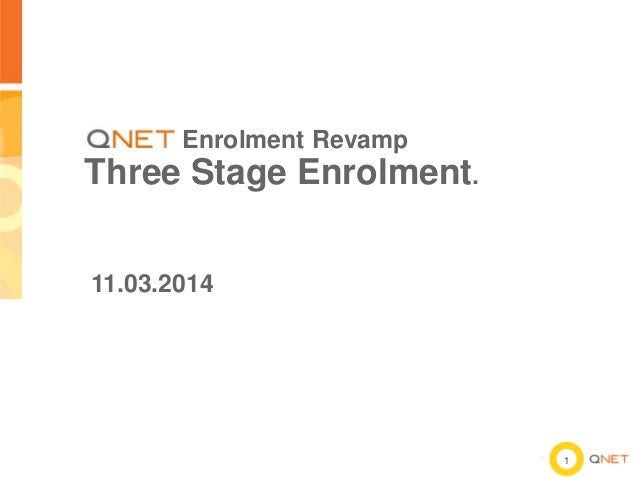 Enrolment Revamp  Three Stage Enrolment. 11.03.2014  1