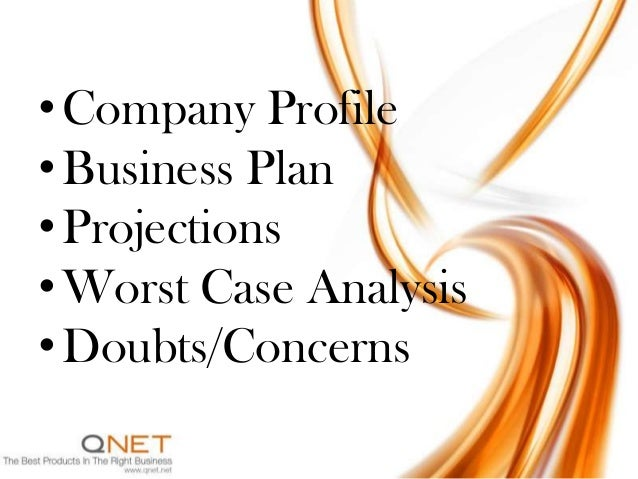 • Company Profile• Business Plan• Projections• Worst Case Analysis• Doubts/Concerns
