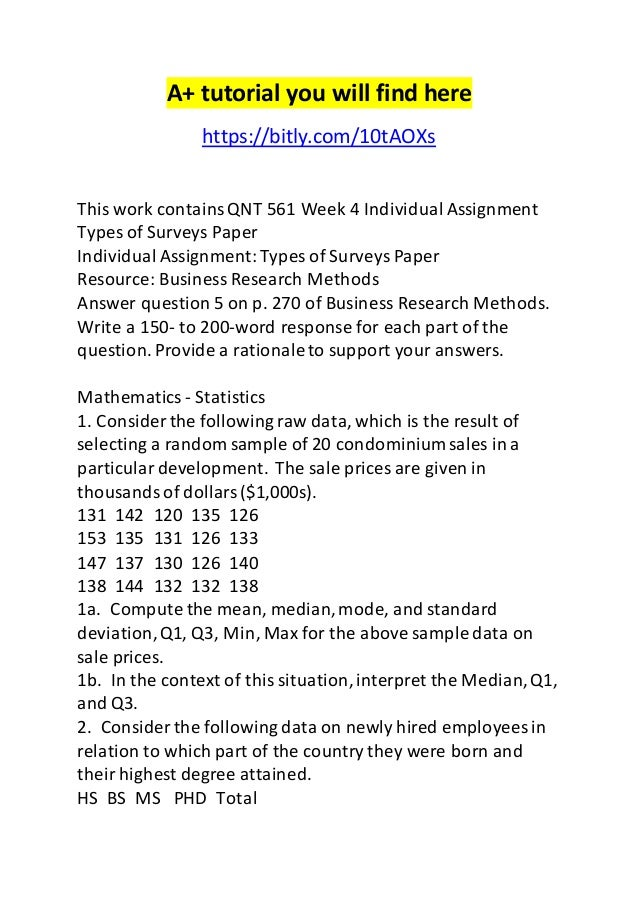 Week 1 statistics in business individual assignment