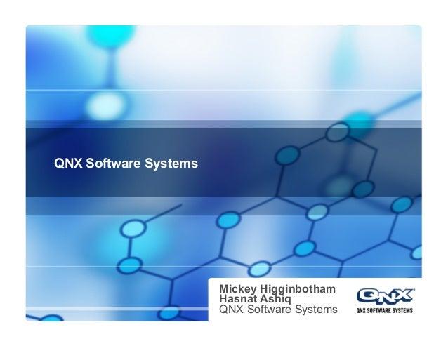 QNX Software Systems Mickey Higginbotham Hasnat Ashiq QNX Software Systems