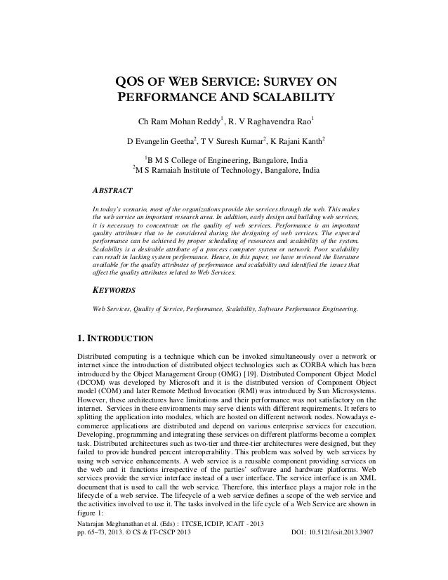 QOS OF WEB SERVICE: SURVEY ON PERFORMANCE AND SCALABILITY Ch Ram Mohan Reddy1, R. V Raghavendra Rao1 D Evangelin Geetha2, ...
