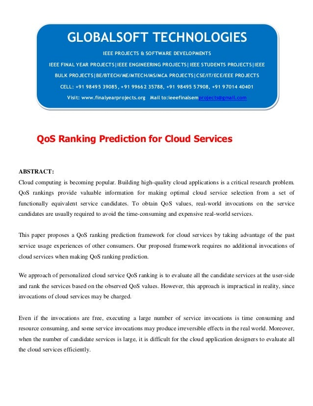 DOTNET 2013 IEEE CLOUDCOMPUTING PROJECT Qos ranking prediction for cloud services