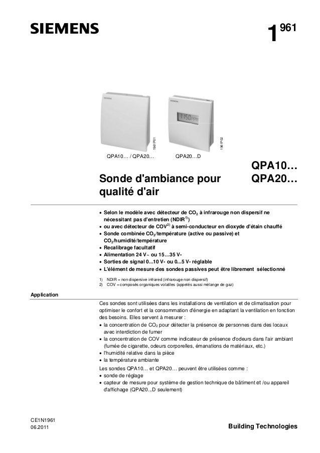 1961P01  1961P02  1  QPA10… / QPA20…  961  QPA20…D  QPA10… QPA20…  Sonde d'ambiance pour qualité d'air  • Selon le modèle ...