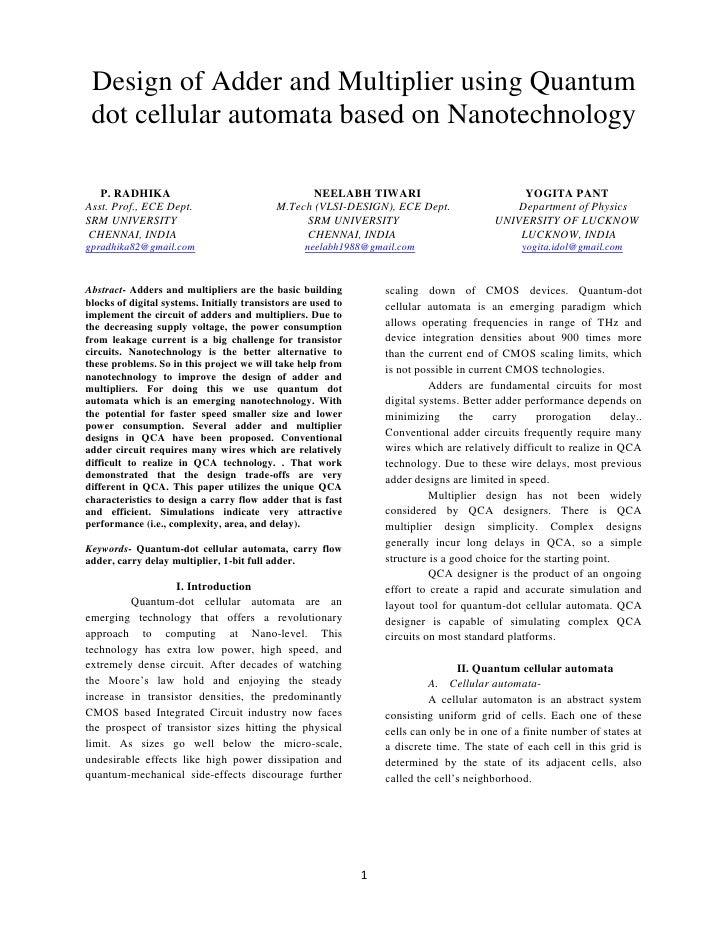 Design of Adder and Multiplier using Quantum dot cellular automata based on Nanotechnology   P. RADHIKA                   ...