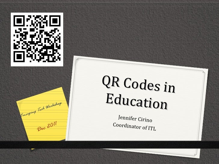 QR Codes in              Work                  shop                         Education          ech    ging TEmer          ...