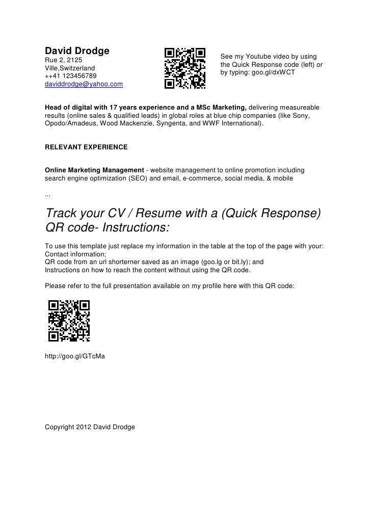 qr code cv resume template david drodge