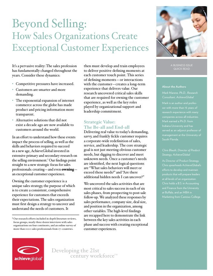Beyond Selling:How Sales Organizations CreateExceptional Customer ExperiencesIt's a pervasive reality: The sales professio...