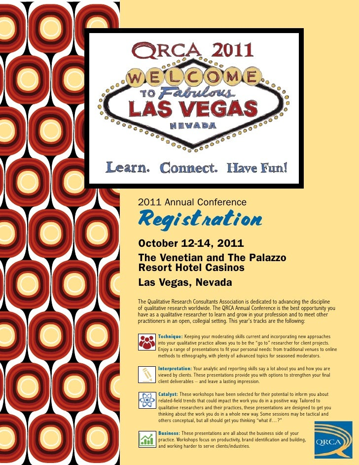 2011 Annual ConferenceRegistrationOctober 12-14, 2011The Venetian and The PalazzoResort Hotel CasinosLas Vegas, NevadaThe ...