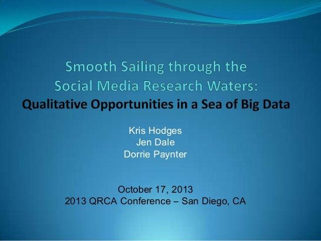 Kris Hodges Jen Dale Dorrie Paynter October 17, 2013 2013 QRCA Conference – San Diego, CA