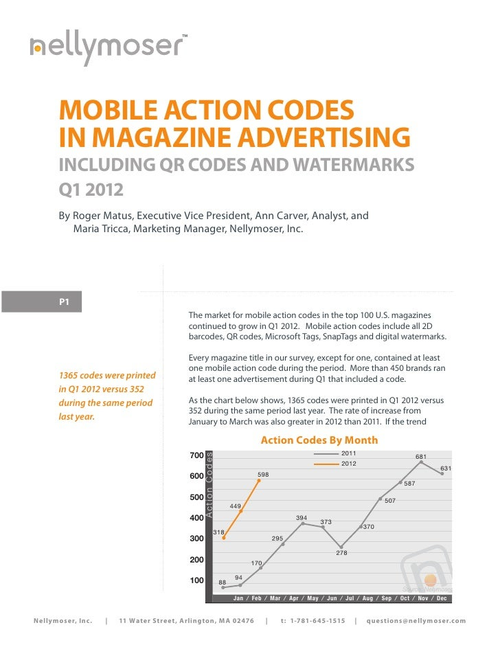 ™      MOBILE ACTION CODES      IN MAGAZINE ADVERTISING      INCLUDING QR CODES AND WATERMARKS      Q1 2012      By Roger ...