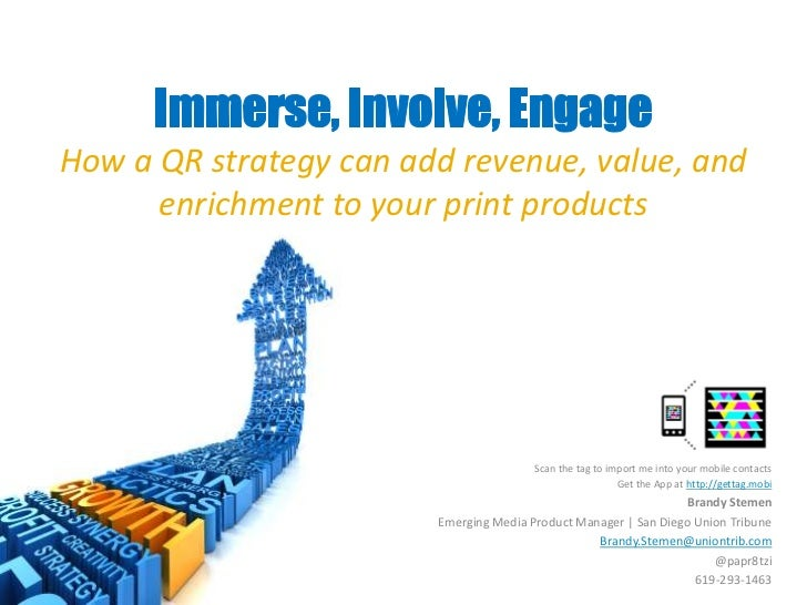 Immerse, Involve, Engage <br />How a QR strategy can add revenue, value, and enrichment to your print products<br />Scan t...