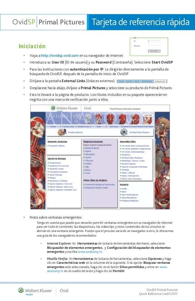 OvidSP Primal Pictures                            Tarjeta de referencia rápida Iniciación   •   Vaya a http://ovidsp.ovid....