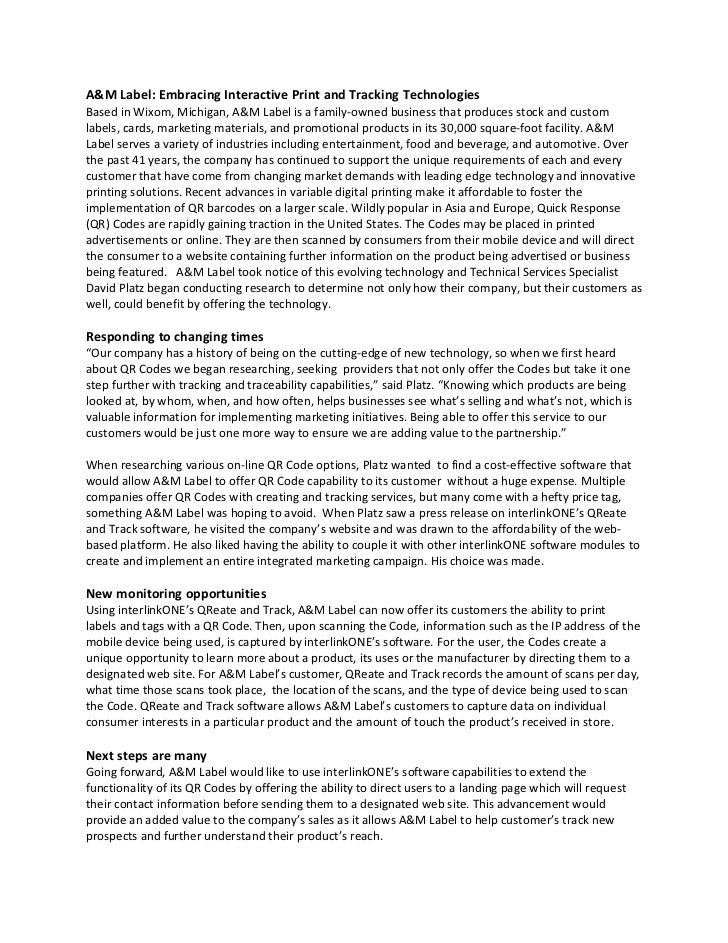QR Code Press Release InterlinkONE