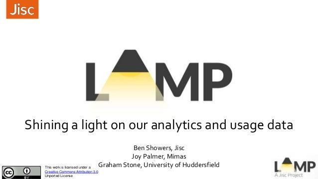 Shining a light on our analytics and usage data Ben Showers, Jisc Joy Palmer, Mimas Graham Stone, University of Huddersfie...