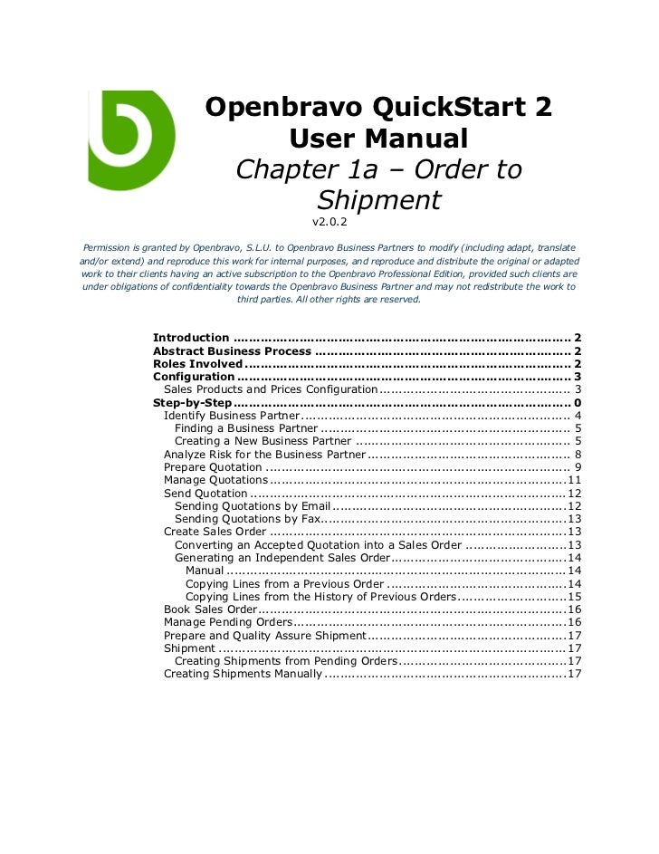 Openbravo QuickStart 2                                 User Manual                              Chapter 1a – Order to     ...
