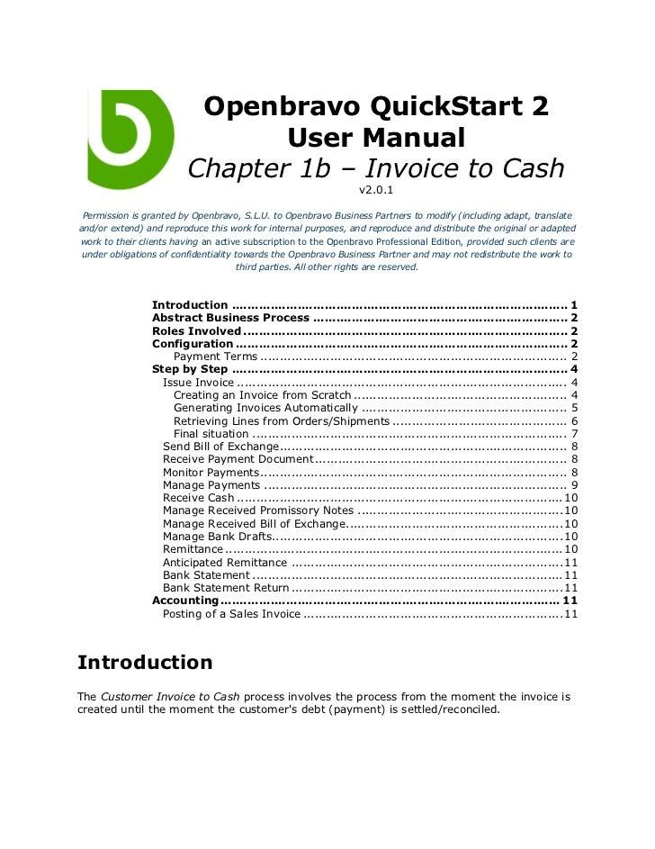 Openbravo QuickStart 2                                User Manual                         Chapter 1b – Invoice to Cash    ...