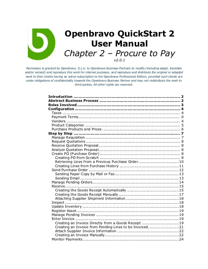 Openbravo QuickStart 2                                   User Manual                             Chapter 2 – Procure to Pa...