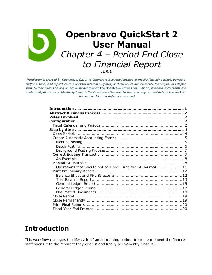 Openbravo QuickStart 2                                User Manual                         Chapter 4 – Period End Close    ...