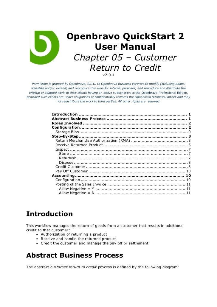 Openbravo QuickStart 2                               User Manual                           Chapter 05 – Customer          ...