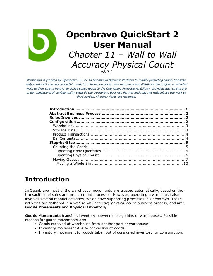 Openbravo QuickStart 2                                   User Manual                             Chapter 11 – Wall to Wall...