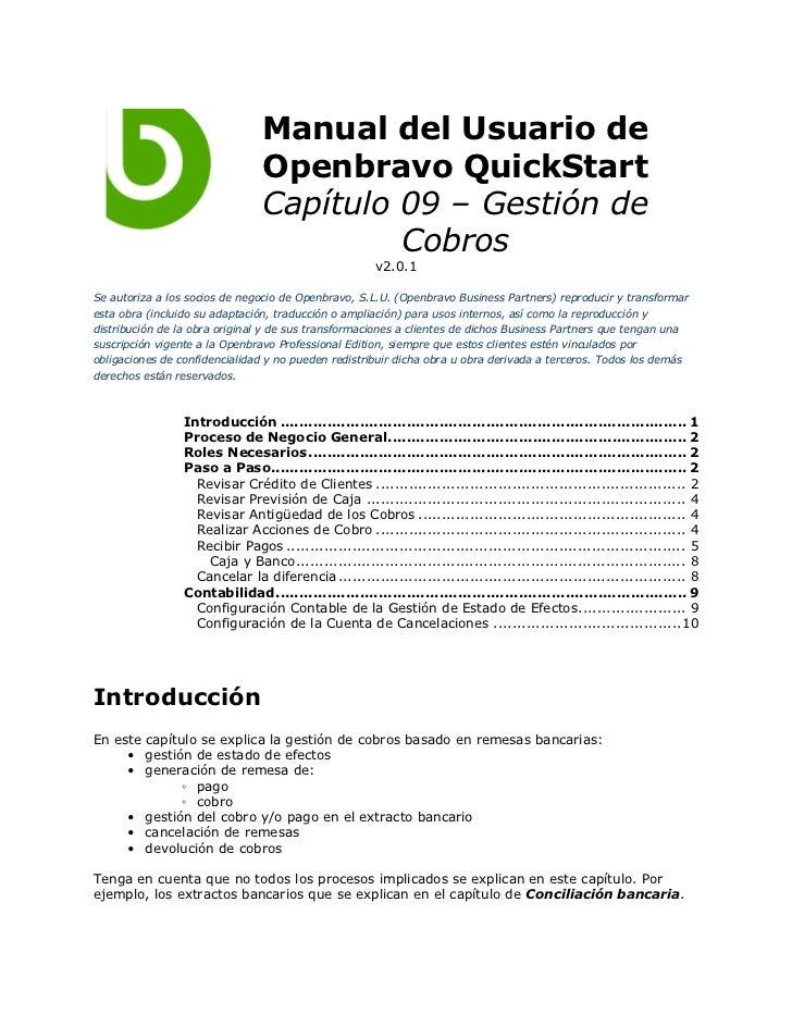 Manual del Usuario de                                Openbravo QuickStart                                Capítulo 09 – Ges...