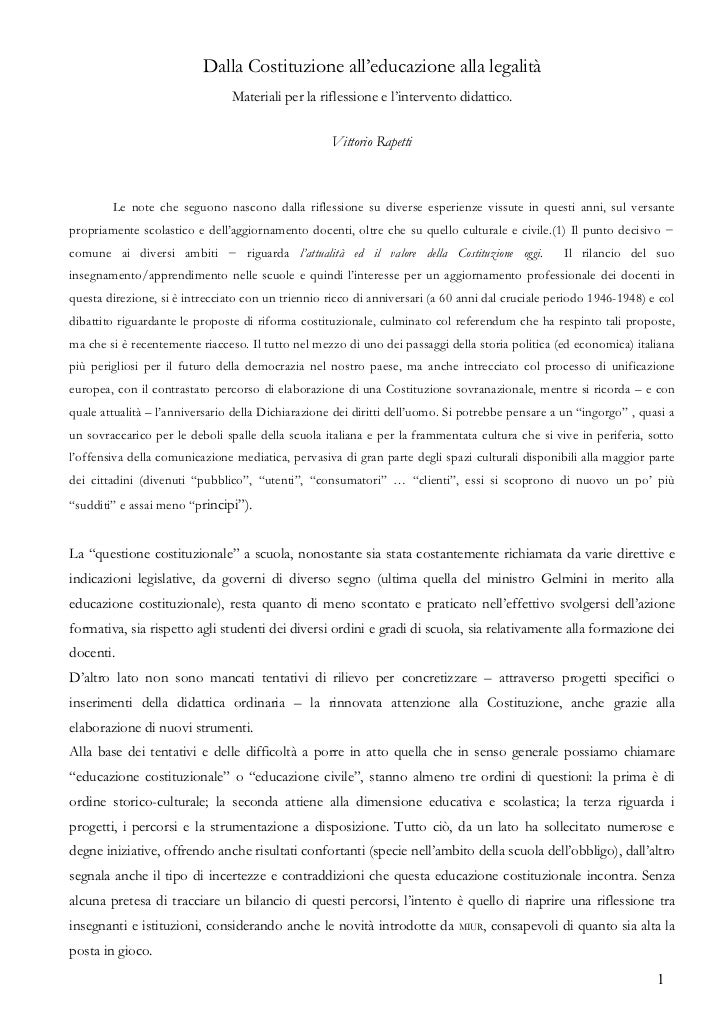 Dalla Costituzione all'educazione alla legalità                                Materiali per la riflessione e l'intervento...