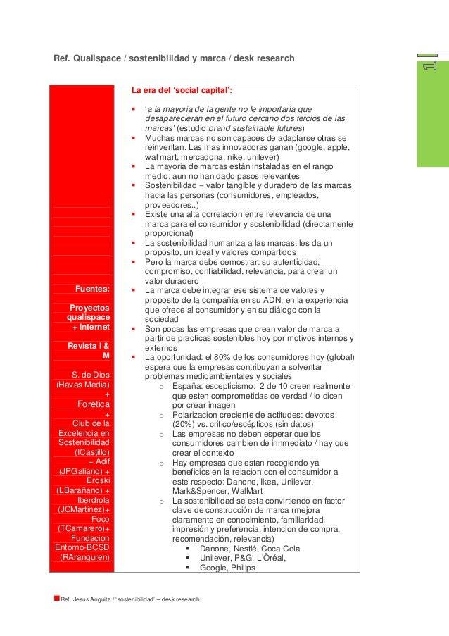 Ref. Qualispace / sostenibilidad y marca / desk research                            La era del 'social capital':          ...