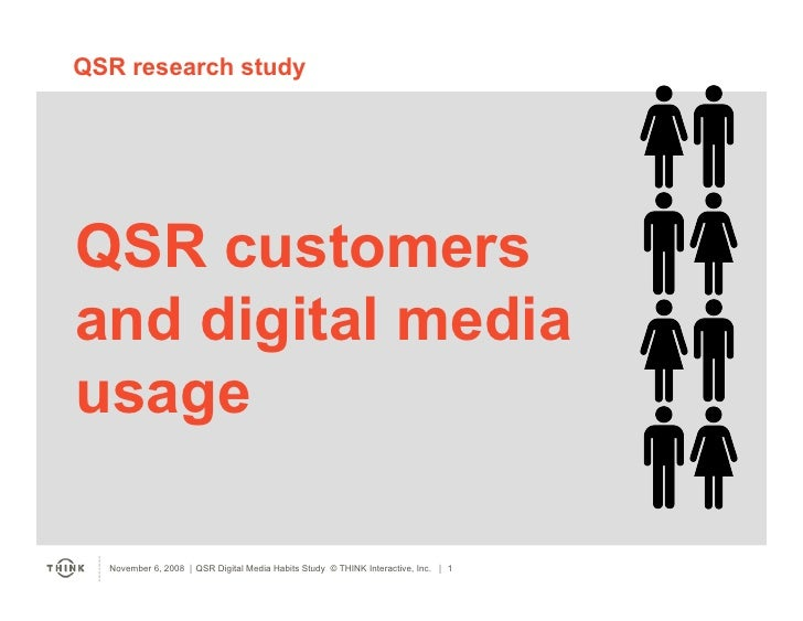 QSR research study     QSR customers and digital media usage    November 6, 2008  QSR Digital Media Habits Study © THINK ...
