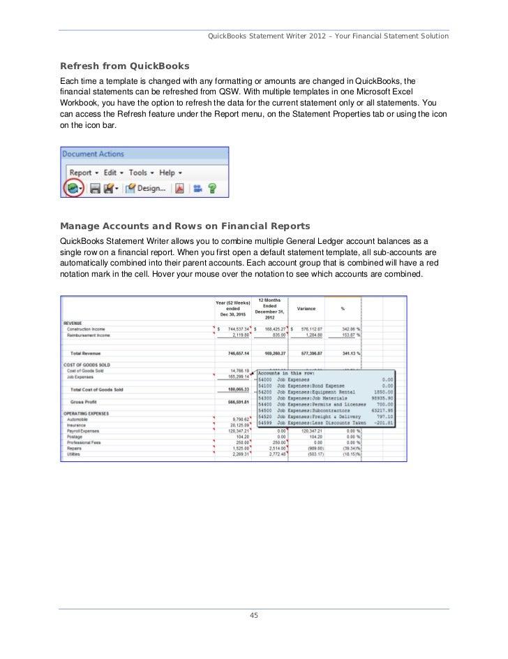 Quickbooks statement writer training