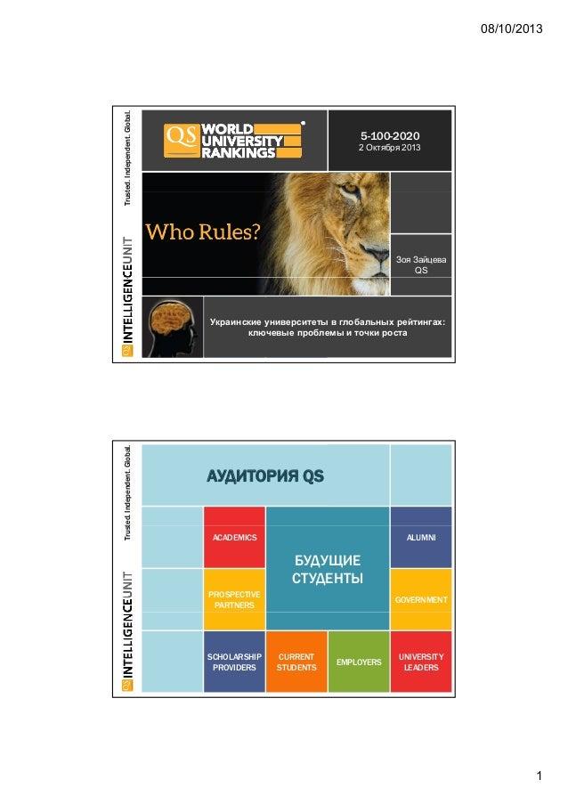 08/10/2013 1 ted.Independent.Global. 5-100-2020 2 Октября 2013 Trust Зоя Зайцева QS Украинские университеты в глобальных р...