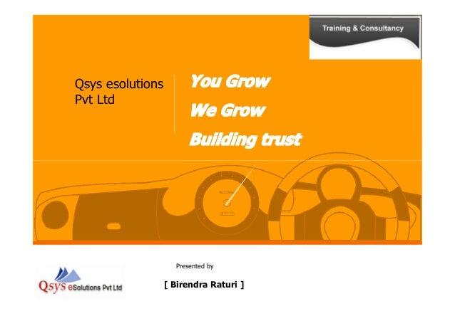 Qsys esolutions Pvt Ltd Presented by [ Birendra Raturi ]