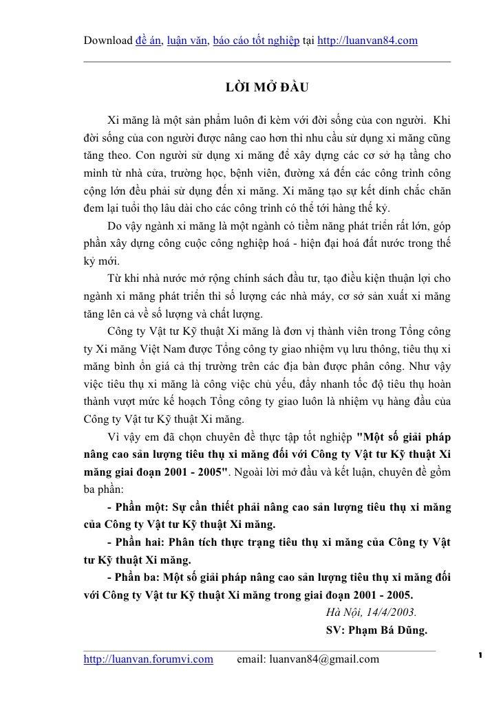 Download đề án, luận văn, báo cáo tốt nghiệp tại http://luanvan84.com                             LỜI MỞ ĐẦU     Xi măng l...