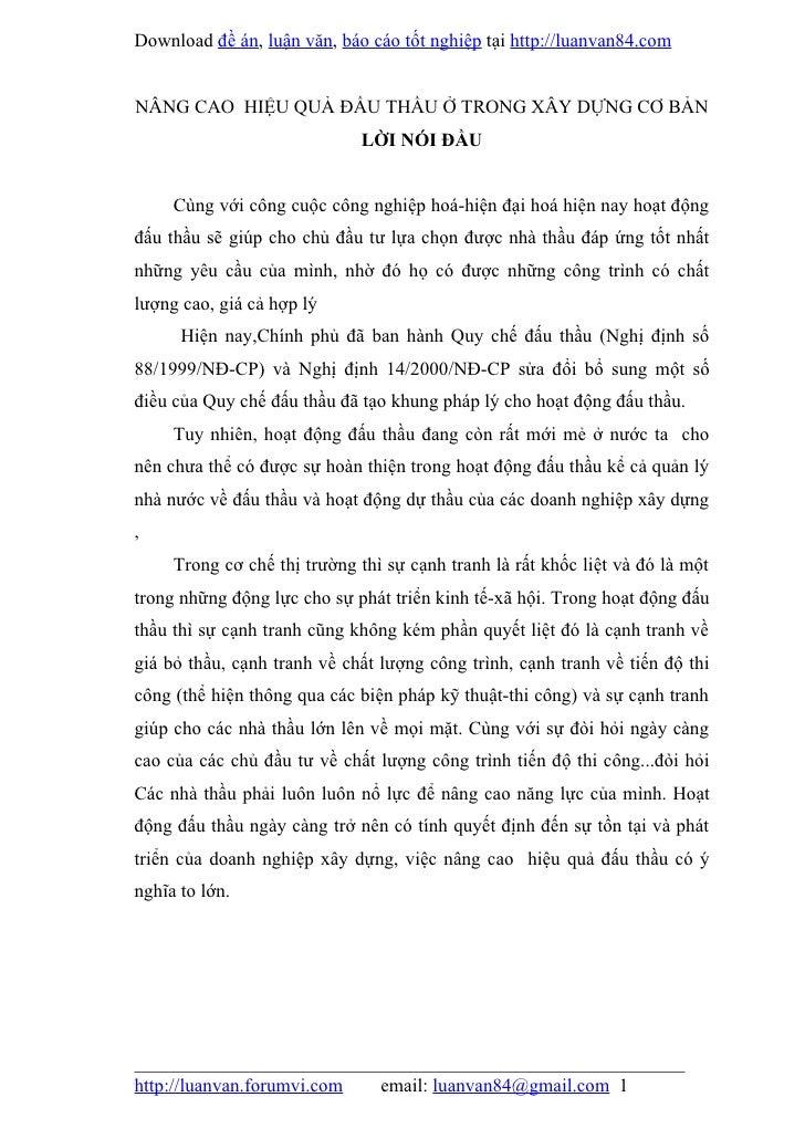 Download đề án, luận văn, báo cáo tốt nghiệp tại http://luanvan84.comNÂNG CAO HIỆU QUẢ ĐẤU THẦU Ở TRONG XÂY DỰNG CƠ BẢN   ...