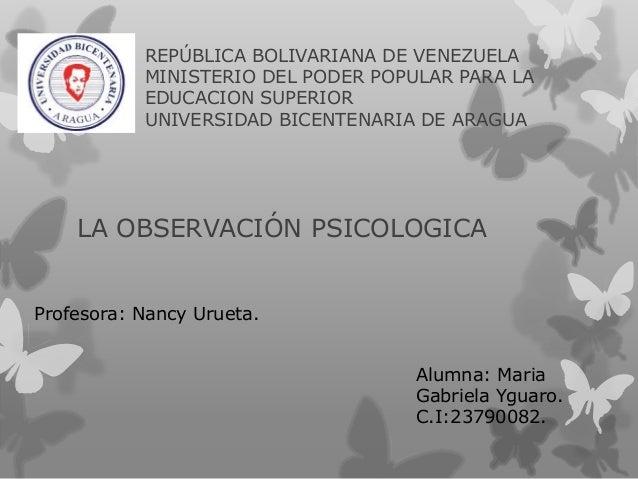 REPÚBLICA BOLIVARIANA DE VENEZUELA MINISTERIO DEL PODER POPULAR PARA LA EDUCACION SUPERIOR UNIVERSIDAD BICENTENARIA DE ARA...