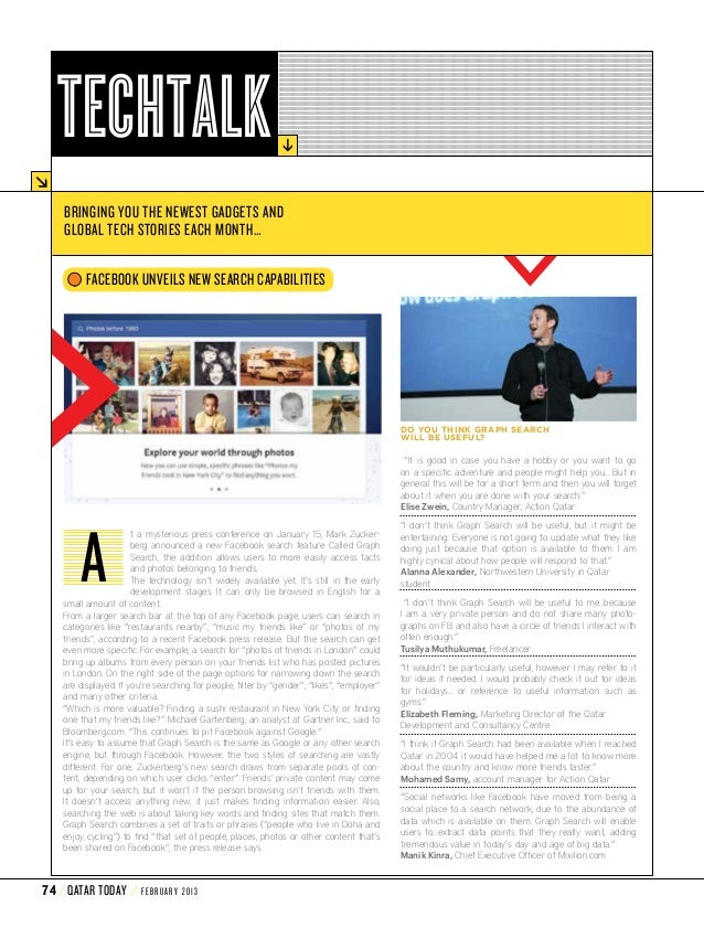 Tech Talk Section - Qatar Today Feb 2013