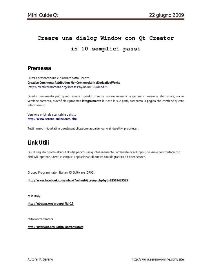 Qt Lezione1: Creare una dialog Window con Qt Creator  in 10 semplici passi