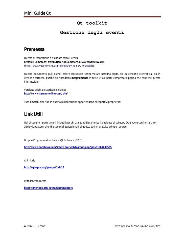 Mini Guide Qt                                                 Qt toolkit                                 Gestione degli ev...