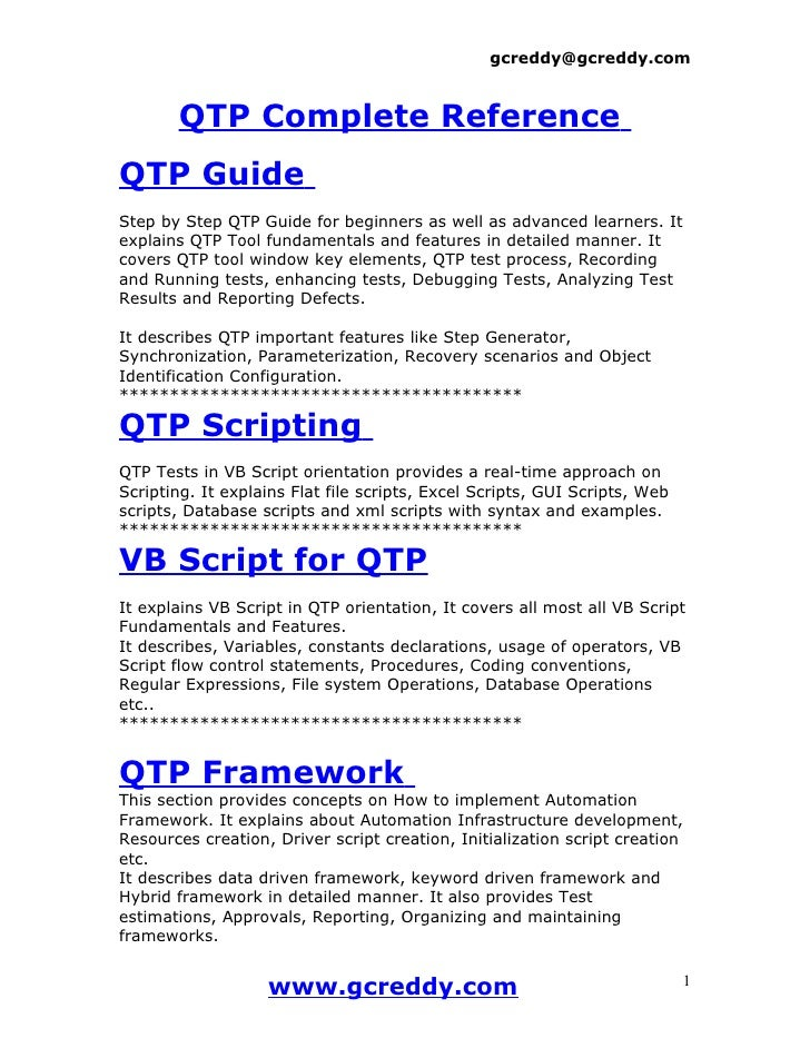 gcreddy@gcreddy.com           QTP Complete Reference QTP Guide Step by Step QTP Guide for beginners as well as advanced le...