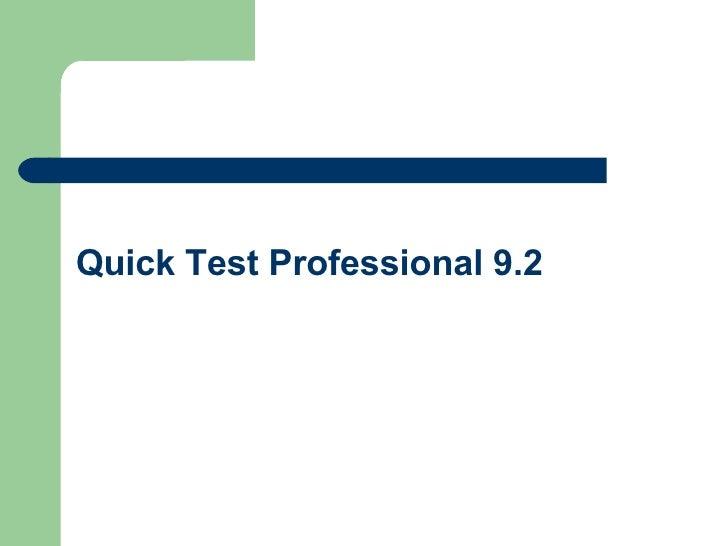 qtp 9.2 features